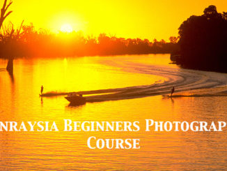 Golden sunset over MUrray River near Mildura with water-skiers. Promotional image for Excitations Beginners Photography Course.
