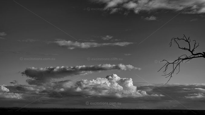 Distant weak storm front build with Cumulus clouds, photo is monochrome with a dead tree branch dominating the right hand corner of the frame. Cloudy sky pictures for Excitations photo adventures and photography training.