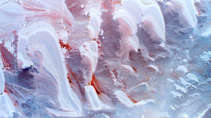 Aerial photograph of patterns in the surface of a salt lake, Australia.